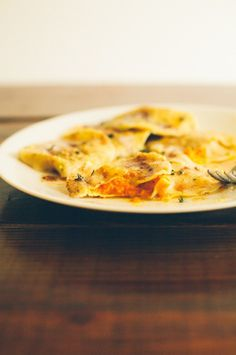 Roasted Carrot Ravioli in Thyme Brown Butter