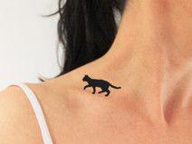 4 tatouages temporaires silhouette chat en noir