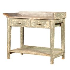 *Zinc Top Distressed Sage Baker's Table | BelleEscape.com