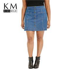 Women Plus Size Single Button Pockets Casual Loose Big Large Size 3XL 4XL 5XL 6XL A-Line Denim Skirt