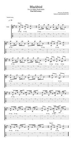 Paul McCartney - Blackbird acoustic guitar tab - acoustic fingerpicking guitar s. Guitar Tabs And Chords, Acoustic Guitar Tattoo, Acoustic Guitar Chords, Guitar Chords For Songs, Fingerstyle Guitar, Ukulele Tabs, Music Guitar, Jazz Guitar, Guitar Tips