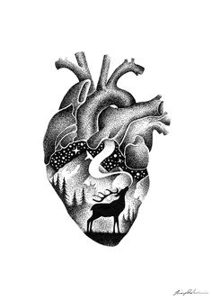 Ink Animal Drawings Within a Drawing. By Thiago Bianchini. Dotted Drawings, Cool Art Drawings, Animal Drawings, Heart Drawings, Black Tattoos, Body Art Tattoos, Tatoos, Ink Illustrations, Illustration Art
