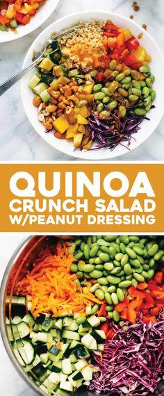 Crunch Salad with Peanut Dressing - Pinch of Yum Quinoa Crunch Salad! Crunchy rainbow veggies, juicy fresh mango, fluffy quinoa, chili lime cashews, and some creamy peanut dressing. Clean Eating Recipes, Clean Eating Snacks, Healthy Eating, Soup And Salad, Pasta Salad, Food Salad, Whole Food Recipes, Dinner Recipes, Pasta Recipes