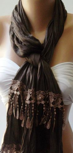 Brown   Elegance Shawl / Scarf by womann on Etsy, $19.00