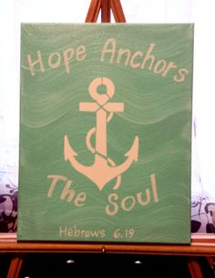 Custom canvas art - Hope anchors the soul. Bible verse, inspirational quotes, ocean, anchors - by ShellysAcrylics on Etsy