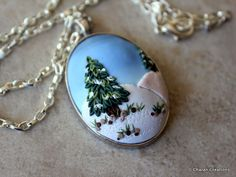 Snowy Landscape Polymer Clay Applique Statement by charancreations