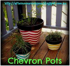 Chevron Painted Flower Pots
