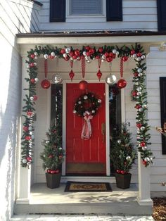 Christmas decorations for front door and porch overhang