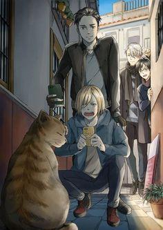 Otabek et Yurio sont trop mignons avec le chat♥