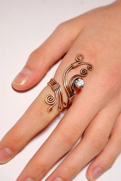 copper ring,copper wire with white crystal stone ring, wire wrapped jewelry handmade ,copper jewelry