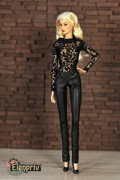 elenpriv New black leather pants for Fashion royalty FR2 body doll by elenpriv on Etsy