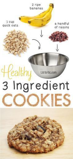 "Healthy But Delicious Treats That Are SUPER Easy Healthy 3 Ingredient Cookies. so easy! You could also add walnuts, coconut shreds, etc. -- 6 Ridiculously Healthy Three Ingredient TreatsEasy Love ""Easy Love"" may refer to: Healthy Oat Cookies, Healthy Sweets, Healthy Baking, Coconut Cookies, Kids Healthy Snacks, Healthy Snack Recipes For Weightloss, Diet Snacks, Health Snacks, Healthy Recipes For Kids"
