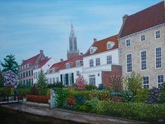 schilderij 90x70 cm olieverf op doek Muurhuizen Amersfoort. Hier heeft Johan van Oldebarneveld gewoond www.adtolboom.nl