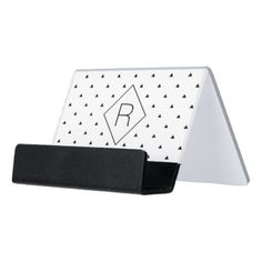 Elegant black white geometric pattern | triangles desk business card holder - marble gifts style stylish nature unique personalize