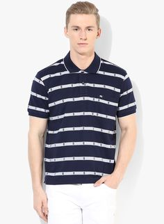 Buy Monte Carlo Navy Blue Striped Regular Fit Polo T-Shirt for Men Online India, Best Prices, Reviews | MO514MA85XVAINDFAS