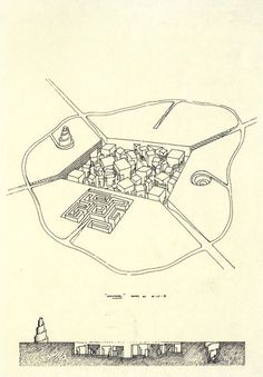 Leon Krier, Labyrinth City, Project, 1971 (viaarchiveofaffinities)