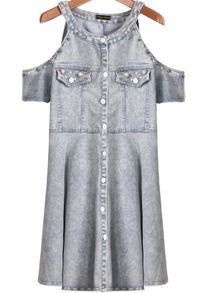 Blue Off the Shoulder Bead Denim Dress