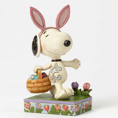 Jim Shore Peanuts Collection Easter Bunny Snoopy w/ Basket 4049398 NEW