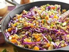 Warm Butternut, Red Cabbage, Quinoa and Almond Salad [Vegan] - One Green Planet