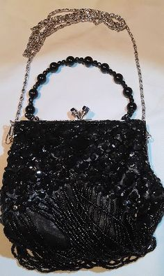 Black Beaded and Sequin Vintage Evening by MeloArtGallery on Etsy