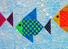 Swimmies Quilt Pattern by Lisa Boyer Baby Patchwork Quilt, Patchwork Quilt Patterns, Barn Quilt Patterns, Paper Piecing Patterns, Applique Quilts, Quilting Patterns, Panel Quilts, Quilt Blocks, Fish Quilt Pattern