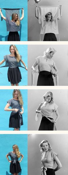 awesome Retro Inspired Wrap Shirt Tutorial Hart's Fabric Make with Japanese style pants Wrap Shirt, Diy Shirt, Shirt Dress Diy, Wrap Pants, T Shirt Refashion, Easy Sew Dress, Diy Fashion, Ideias Fashion, Diy 1950s Fashion