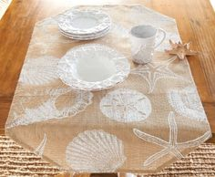 Shell Printed Burlap Table Runner Kitchen Dining Room 35 Inch Mud Pie Mud Pie http://www.amazon.com/dp/B00JGFRM1K/ref=cm_sw_r_pi_dp_QzShub1T5P8Z8