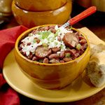 New Orleans Red Beans and Rice Recipe - added 12 oz smoked andouille, 7 c chicken broth, 1 c water, 4 tbsp creole seasoning, 1.75 cups sliced okra, 1 extra clove garlic