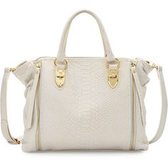 Charles Jourdan Oreet Snake-Embossed Leather Tote Bag ($219) ❤ liked on Polyvore featuring bags, handbags, tote bags, white, zipper tote, white leather tote bag, leather purses, leather handbag tote and leather totes