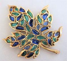 Vintage TRIFARI Blue & Green Leaf Pin Brooch Signed