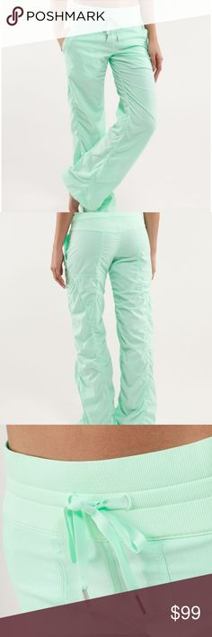 """Lululemon Fresh Teal Studio Pants NWT 4 Lululemon Fresh Teal (Pistachio Green) Studio Pant II Pants  Size 4  Measurements:  Waist: 13.5"""" Rise:  9.5"""" Inseam:  32""""   Condition: NWT My items come from a smoke-free household, we do have a kitty, so an occasional hair may occur! lululemon athletica Pants Track Pants & Joggers"""