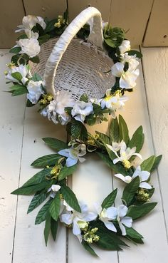 Finished flower girl basket and head wreath