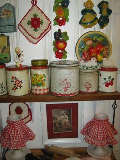 my vintage colorful kitchen tins and chalkware