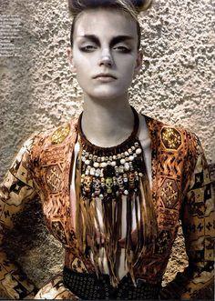 Dimitra Altani Bulgarian chic makeup for Grazia france magazine Tribal Fashion Editorial, Tribal Trends, Tribal Hair, Tribal Warrior, White Makeup, Neck Piece, Hair Jewelry, Body Jewelry, Jewellery