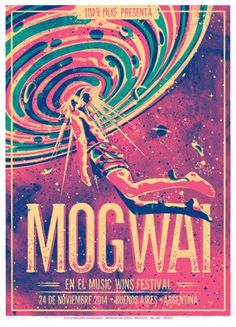 Gigposter for Mogwai in Music Wins festival - Buenos Aires - Argentina Flat Design Illustration, Digital Illustration, Blue Devil, Conceptual Art, Art Inspo, Neon Signs, Graphic Design, Creative, Painting