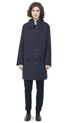WOMEN AUTUMN WINTER 15 - Navy proofed cotton Hooded Mackintosh, putty cashmere Oversized Crew, dark navy moleskin Kilt Buckle Trouser, black patent leather Slim Lace Up
