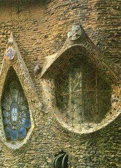 The Church of Colonia Guell, Santa Coloma de Cervello, Spain.  architect: Antoni Gaudi
