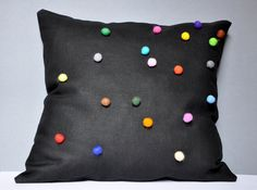 Items similar to Black Linen Pillow Case With Colorful Felt Balls Inch White Black Brown Green Blue Violet Pink Red Orange Yellow on Etsy Linen Pillows, Throw Pillows, Cushions, Blue Green, Orange Yellow, Felt Ball, Black Linen, Rainbow Colors, Pink Roses