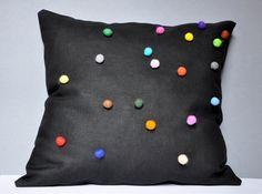 Black Linen Pillow Case With Colorful Felt Balls by tuliManna, $35.00