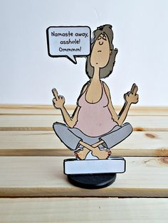 Yoga Lady Double-Handed Middle Finger Salute All-Occasion Card Gable Boxes, Best Yoga, Gag Gifts, Namaste, Finger, Lady, Creative, Funny Products, Middle