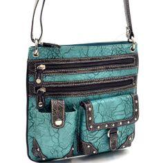 Western Rhinestone Studded Handbag Purse Messenger Bag Floral Trim Turquoise #Unbranded #ShoulderBag. Purchase from http://stores.ebay.com/jodezegiftsnmore