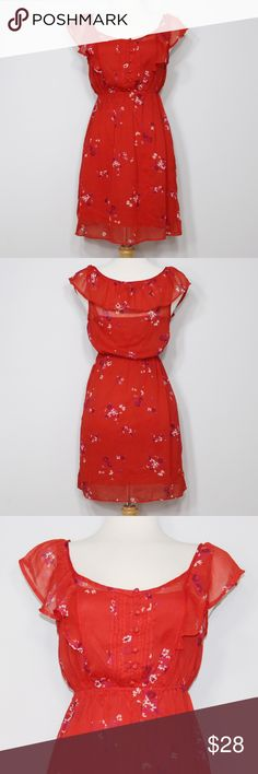 AEO Red Floral Ruffle Dress A super cute, flirty dress in great condition! Polyester shell. Detachable red slip. Pullover styling. Elastic waist. Functional buttons. No holes or stains. Comes from a smoke free environment. Measurements to be added. American Eagle Outfitters Dresses