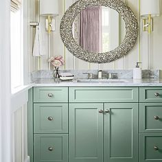 Cabinet idea for powder room.  White counter - matt finish.  White porcelain under counter sink. Same hardware as bathroom upstairs.  Same floor as bathroom.  Walls as current.