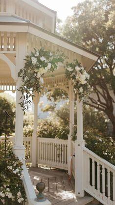 Southern Wedding Theme, Romantic Wedding Photos, Romantic Weddings, Gazebo Wedding Decorations, Rustic Wedding Centerpieces, Table Decorations, Wedding Ceremony Flowers, Ceremony Backdrop, Groom Style