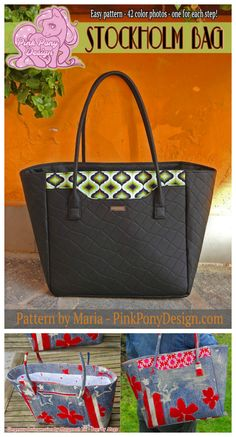 The Stockholm Bag - big and easy to make handbag - pdf sewing pattern. This stylish, no fuss design with a simple big exterior pocket and a zippered pocket at the back