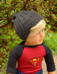 Gray beanie caps hats for boy 18 inch dolls by JulesNmeDollDesigns