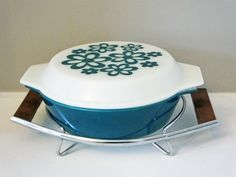 vintage pyrex jaj teal flowers casserole