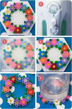 Spring coaster hama perler beads diy by Craft Perler Bead Designs, Easy Perler Bead Patterns, Melty Bead Patterns, Hama Beads Design, Diy Perler Beads, Perler Bead Art, Pearler Beads, Fuse Beads, Beading Patterns