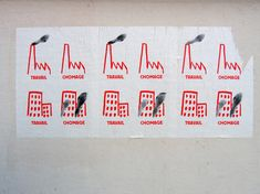 Nicolas Filloque, affiche Travail Chômage, concours du Festival international de l'affiche et du graphisme de Chaumont, sur le sujet de «la révolte des banlieues», 60x80cm, sérigraphie 2 tons, mai 2006