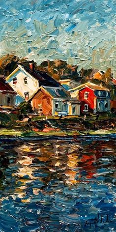 Cool palette knife painting, houses on water. Reflection (Isle-aux-Grues), by Ra… Cool palette knife painting, houses on water. Reflection (Isle-aux-Grues), by Raynald Leclerc Landscape Art, Landscape Paintings, Impressionist Paintings, Water Color Painting Landscape, Landscape Design, Oil Painting Texture, Impressionism Art, Arte Van Gogh, Art Watercolor